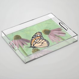 Monarch Butterfly Art, Orange Butterfly Painting Acrylic Tray