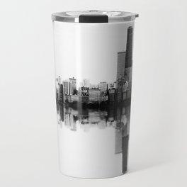 Chicago Skyline- SoundWave in Black & White Travel Mug