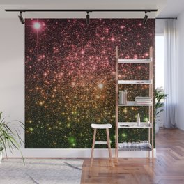 Rose Gold Green Galaxy Sparkle Wall Mural