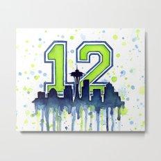 Seattle 12th Man Art Skyline Watercolor Metal Print