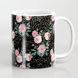 Romantic peony floral and golden confetti design Coffee Mug