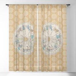 Vintage Astrology Zodiac Wheel Honey Sheer Curtain