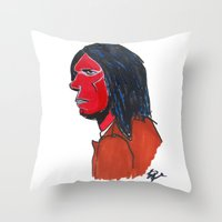 neil gaiman Throw Pillows featuring Neil Young by Urban Knish