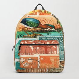 Green Heron at Sunset - postage stamp collage Backpack