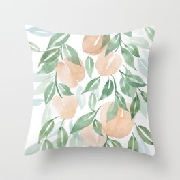 Peach Tree Throw Pillow