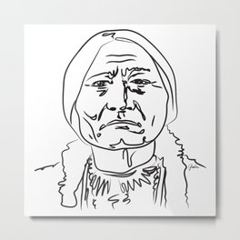 Face Sitting Bull Metal Print