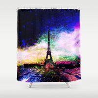 eiffel Shower Curtains featuring eiffel tower by haroulita