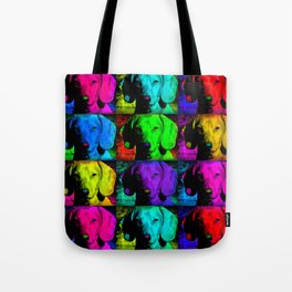 Colorful Pop Art Dachshund Doxie Face Closeup Tiled Image Tote Bag