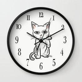 White funny cat Wall Clock