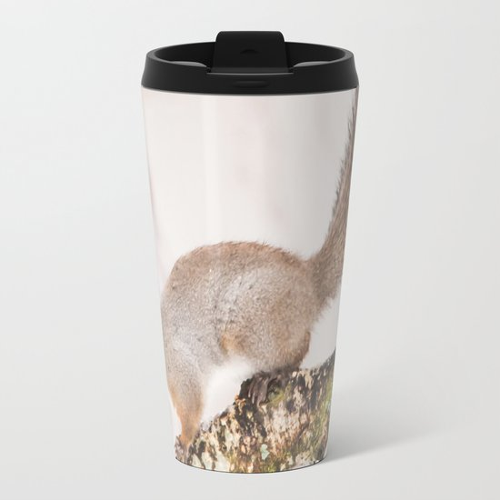 Little squirrel jumping on the branch Metal Travel Mug