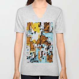 yellow brown and blue Unisex V-Neck