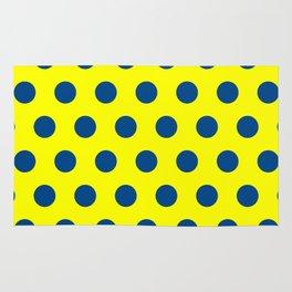 maize and blue polka dots Rug