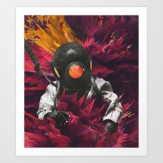 Engulfed Diver Art Print