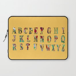 Floral Alphabet in Yellow Laptop Sleeve