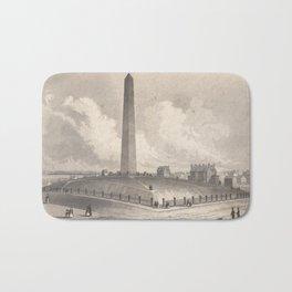 Vintage Bunker Hill Monument Illustration (1848) Bath Mat