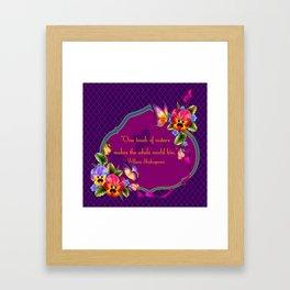 Arabian Quatrefoil Pansies Framed Art Print