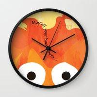 calcifer Wall Clocks featuring Calcifer's Curse by HSuits