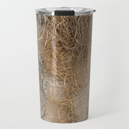 textured jute fabric for background and texture Travel Mug