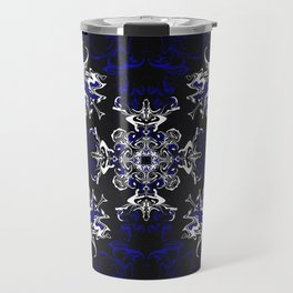 Dark Blue, Black, and White Pattern Travel Mug