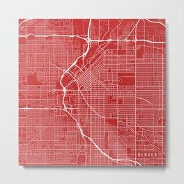 Denver Map, USA - Red Metal Print