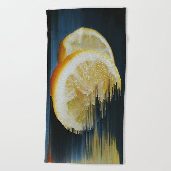 Lemony Good Glitch Beach Towel