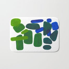 Mid Century Vintage Abstract Minimalist Colorful Pop Art Phthalo Blue Lime Green Pebble Shapes Bath Mat