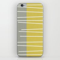 mid century modern iPhone & iPod Skins featuring MId century modern textured stripes by Michelle Drew