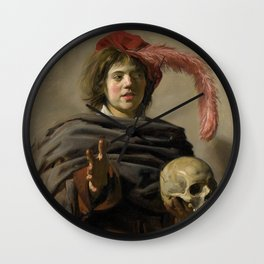 Frans Hals - Young Man with a Skull - Renaissance Fine Art Retro Vintage Oil Painting Wall Clock