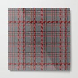 Gray, red tartan plaid. Metal Print