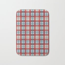 Colorful red grey plaid . Bath Mat