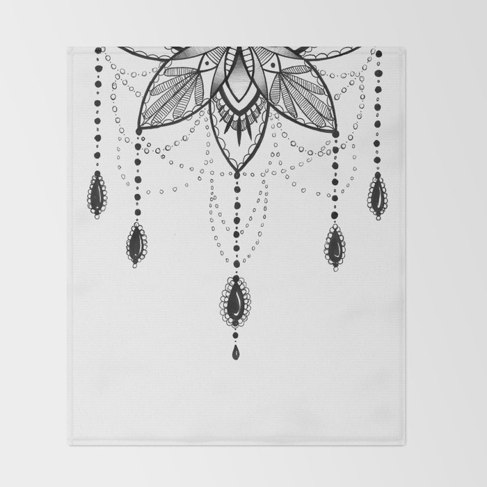 Flowing Mandala Chandelier Drawing Throw Blanket
