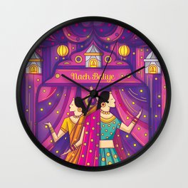 Indian Wedding Sangeet Dance Wall Clock