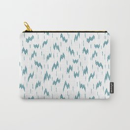 GEOMETIRC IKAT LIGHTENING BOLT - TEAL & WHITE Carry-All Pouch
