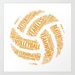 Orange Volleyball Wordcloud - Gift Art Print