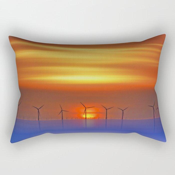 Wind Farms at Sunset (Digital Art) Rectangular Pillow