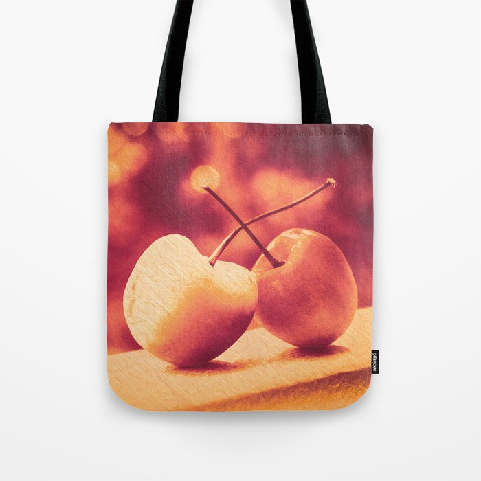 Sweet Moment (Rainier Cherries with Gold & Wine Red Bokeh Background) Tote Bag