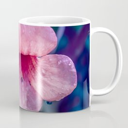 Pink Suede Rose On Blue Coffee Mug