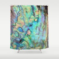 new zealand Shower Curtains featuring Paua - New Zealand by Erzaguri