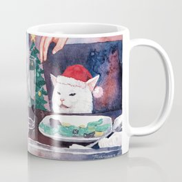 Woman Yelling at Cat Christmas Edition Coffee Mug