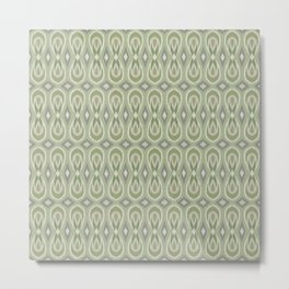 Ikat Teardrops in Sage Green and Gray Metal Print