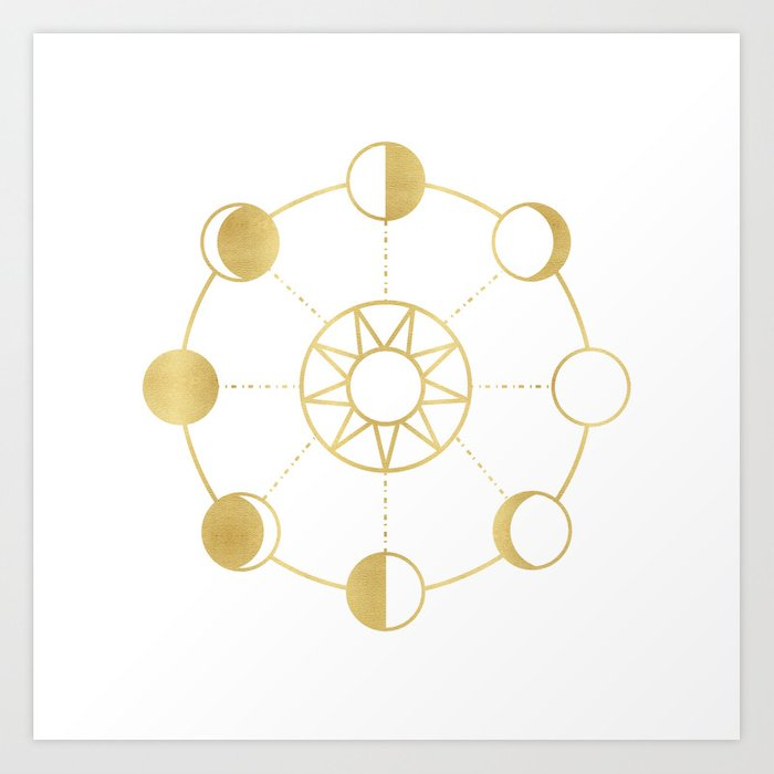 Gold Moon and Sun Phases Art Print