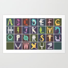 Horizontal Animal Alphabet (Complete Poster) Art Print