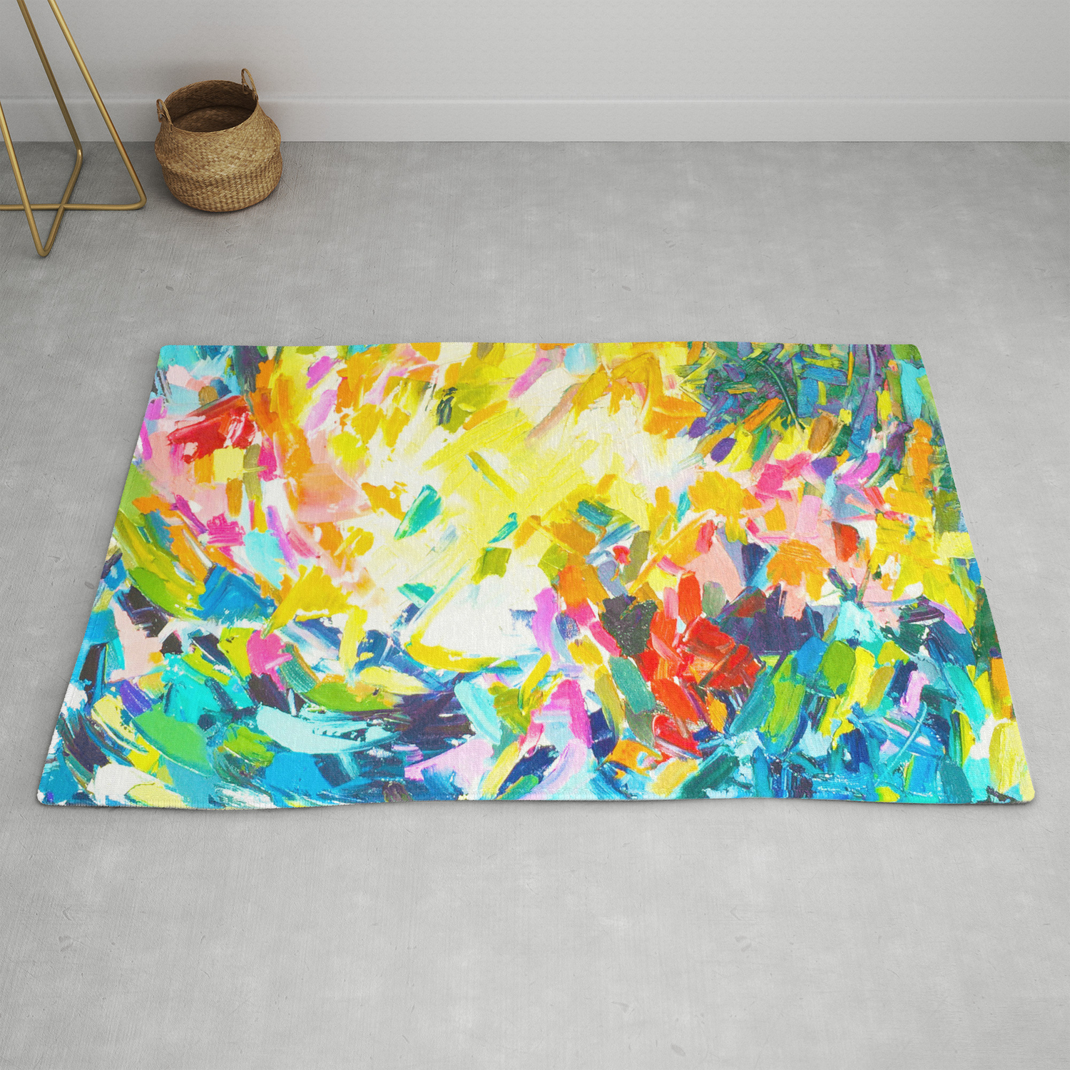 Colorful Contemporary Abstract Painting With Bright Colors And Fun Texture Rug By Melissapolomsky