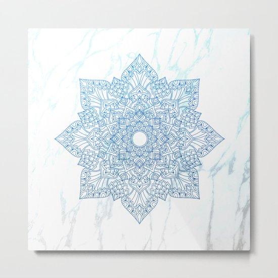 Blue flower mandala - marble Metal Print