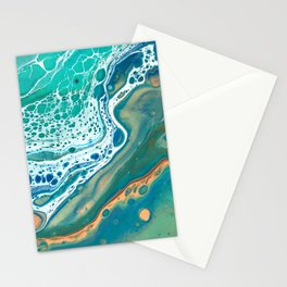 Coastal Waters Acrylic Pour Stationery Cards