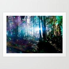 Magical Path Forest Fireflies - Olympic National Park Hoh Rainforest Art Print
