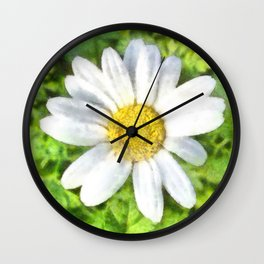 Radiant Daisy Watercolor Wall Clock
