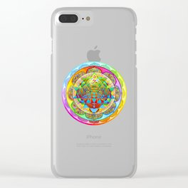 Inner Strength Psychedelic Tiger Sri Yantra Mandala Clear iPhone Case