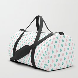 Teal blue and coral pink raindrops Duffle Bag