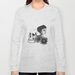 The Girl With A Skull And Flowers Long Sleeve T-shirt